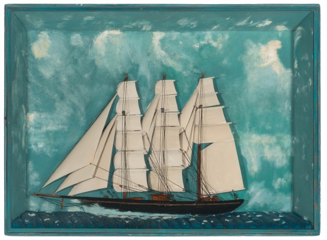 Carved and Painted Ship Diorama of a Three-Masted Sailing Vessel
