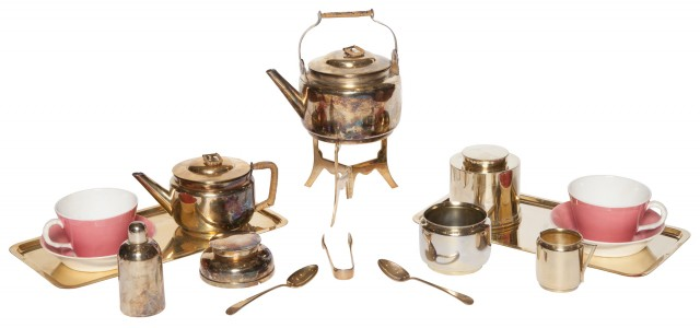 English Aesthetic Movement Electroplated and Porcelain Picnic Tea Set