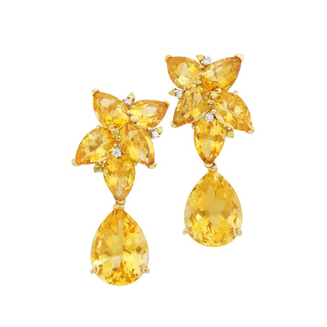 Pair of Gold, Citrine, Diamond and Yellow Diamond Pendant-Earclips