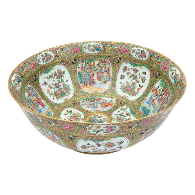 Canton Rose Medallion Porcelain Punch Bowl