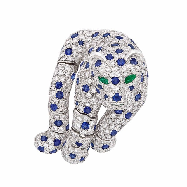 Platinum, Diamond, Sapphire and Emerald Leopard Clip-Brooch