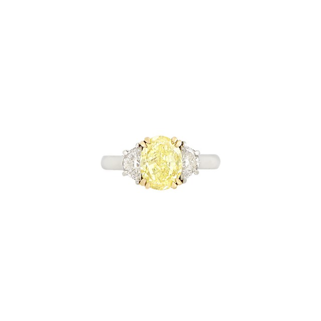 Platinum, Gold, Fancy Intense Yellow Diamond and Diamond Ring
