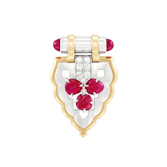 Art Deco Platinum, Gold, Ruby and Diamond Clip-Brooch, Charleton