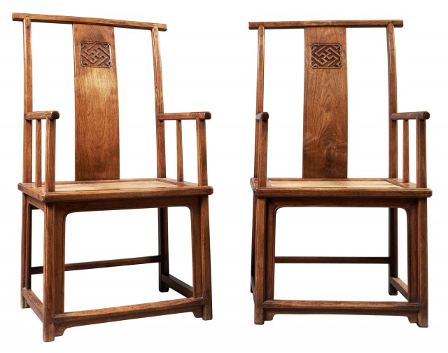A Fine Pair of Chinese Huanghuali High-Back Armchairs