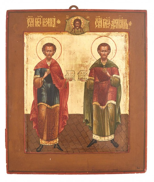 Russian Icon of St. Cosmas and St. Damian