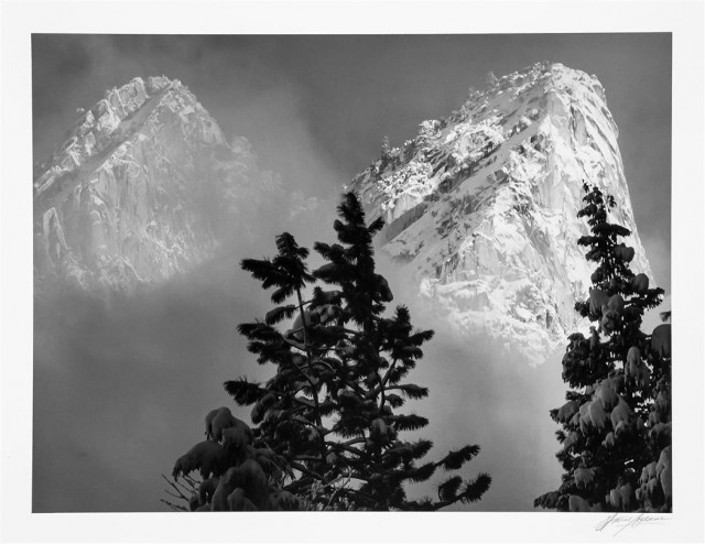 ADAMS, ANSEL (1902-1984)  Eagle Peak and Middle Brother, Winter, Yosemite National Park, California, 1968.