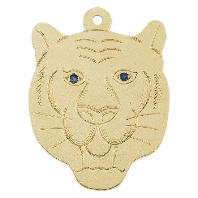Gold and Sapphire Panther Pendant, Cartier