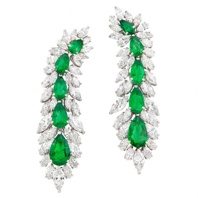 Pair of Platinum, Emerald and Diamond Pendant-Earclips