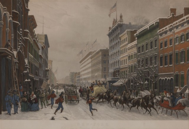 SEBRON, HIPPOLYTE VICTOR VALENTIN (After)  New-York Winter Scene in Broadway / Scene d\'Hiver dans Broadway.