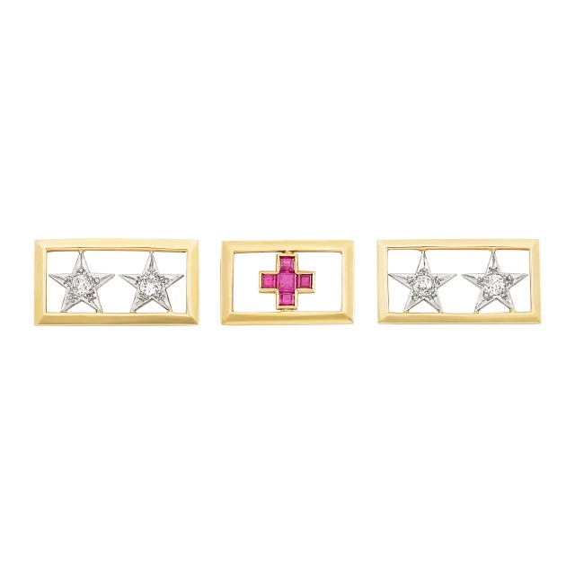 Three Gold, Platinum, Diamond and Ruby WWII Two Star General and Red Cross Scatter Pins