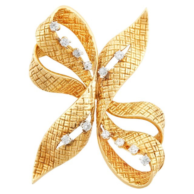 Boucheron Paris Gold, Platinum and Diamond Bow Double Clip-Brooch