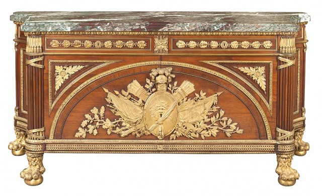 Louis XVI Style Gilt-Bronze Mounted Mahogany, Kingwood and Rosewood Marble Top Commode a Vantaux