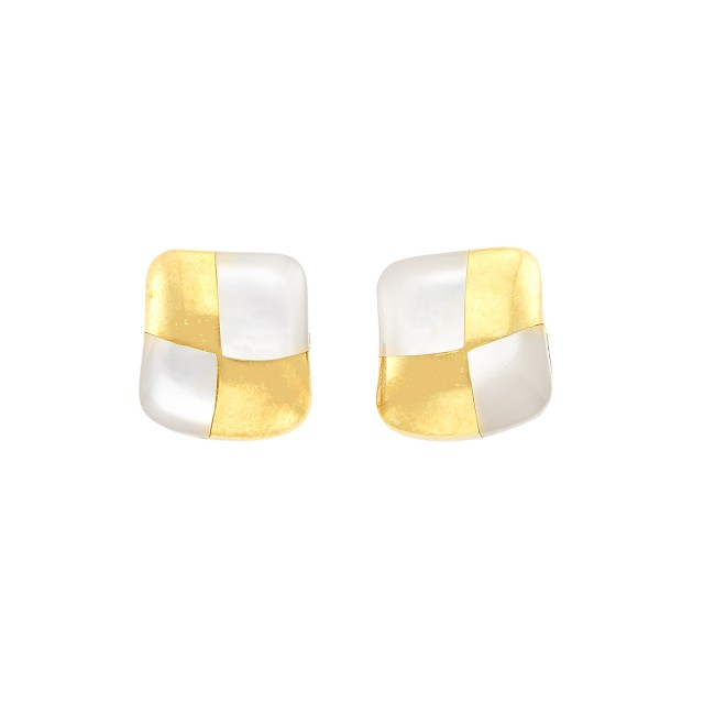 Pair of Gold and Mother-of-Pearl Earrings, Angela Cummings