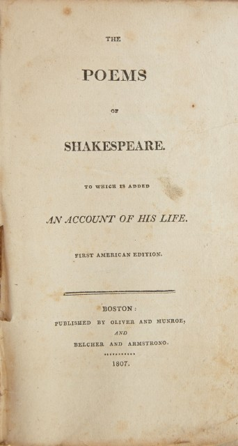 SHAKESPEARE, WILLIAM  The Poems of Shakespeare. To which is added an account of his life.