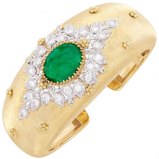 Two Color Gold Emerald And Diamond Cuff Bracelet For Sale At