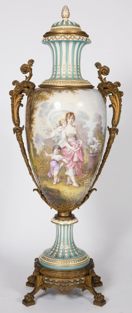 Monumental Sèvres Style Gilt-Bronze Mounted Gilt and Hand-Painted Porcelain Two-Handled Footed Urn and Cover