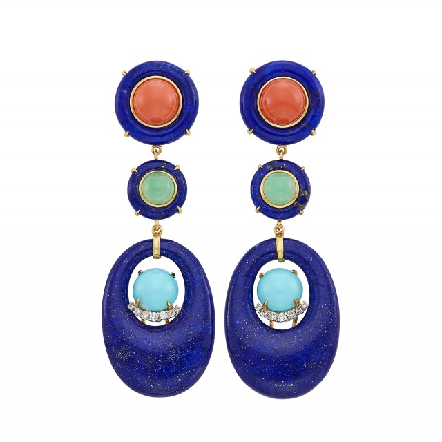 Pair of Gold, Lapis, Turquoise, Green Chalcedony, Coral and Diamond Pendant-Earclips