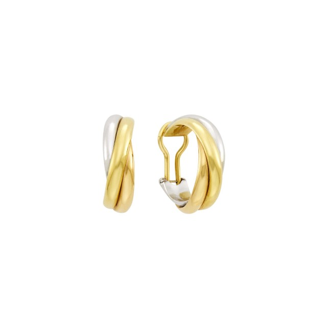 Cartier Pair of Tricolor Gold 'Trinity' Hoop Earclips