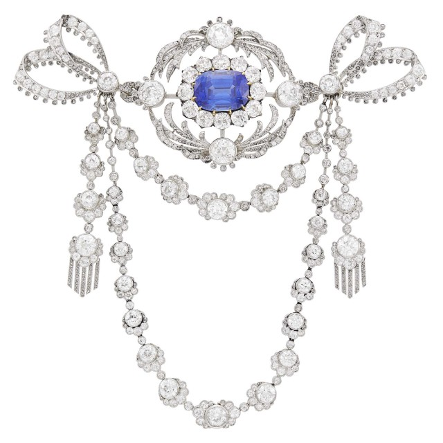 Belle Époque Platinum, Gold, Sapphire and Diamond Devant de Corsage