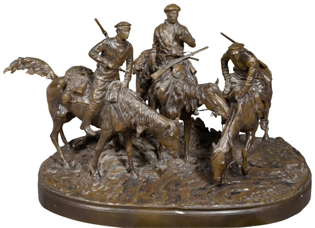 Russian Style Bronze Group of Three Don Cossacks