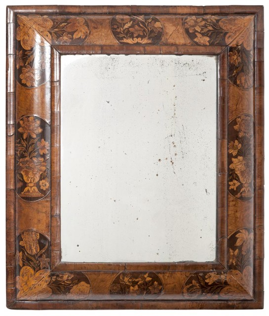 William and Mary Walnut and Marquetry Mirror