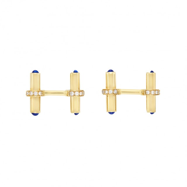 Pair of Gold, Diamond and Cabochon Sapphire Cufflinks