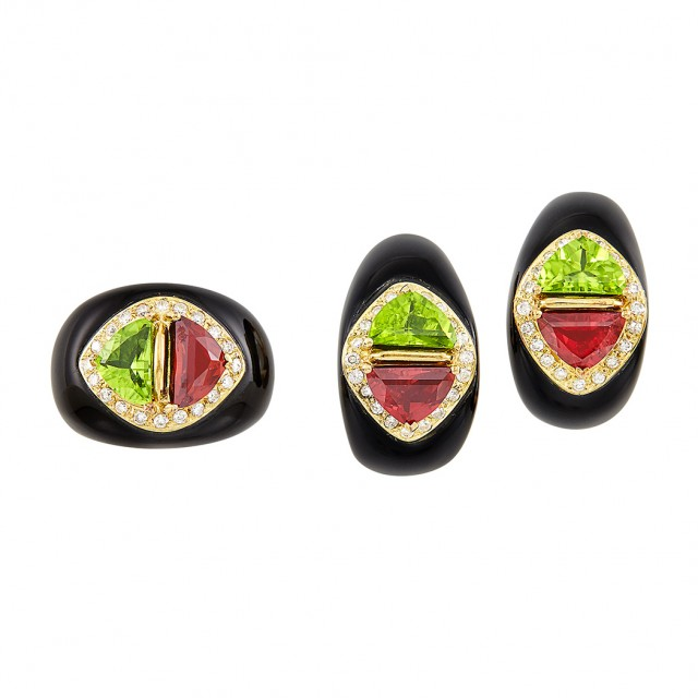 Pair of Gold, Black Onyx, Peridot, Garnet and Diamond Earclips and Ring