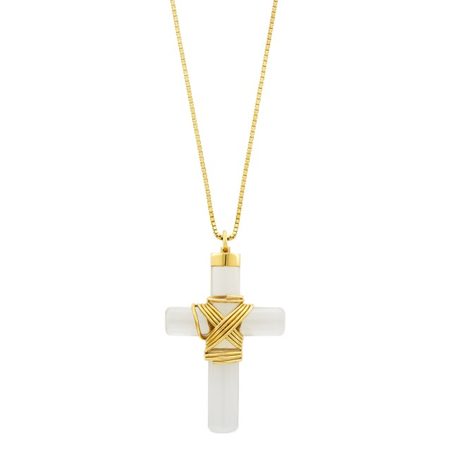 Attributed to Cartier Gold and Rock Crystal Cross Pendant with Gold Chain