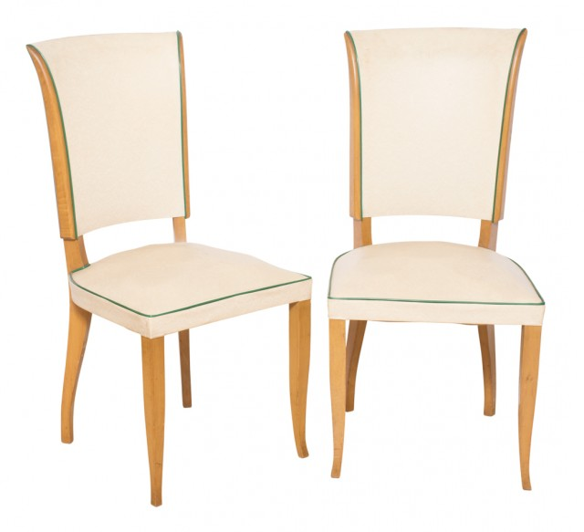 Set of Six Vinyl Upholstered Fruitwood Dining Chairs
