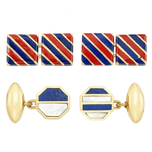 Pair of Gold and Enamel Cufflinks, Tiffany & Co., and Gold, Lapis and Mother-of-Pearl Cufflinks, Bulgari
