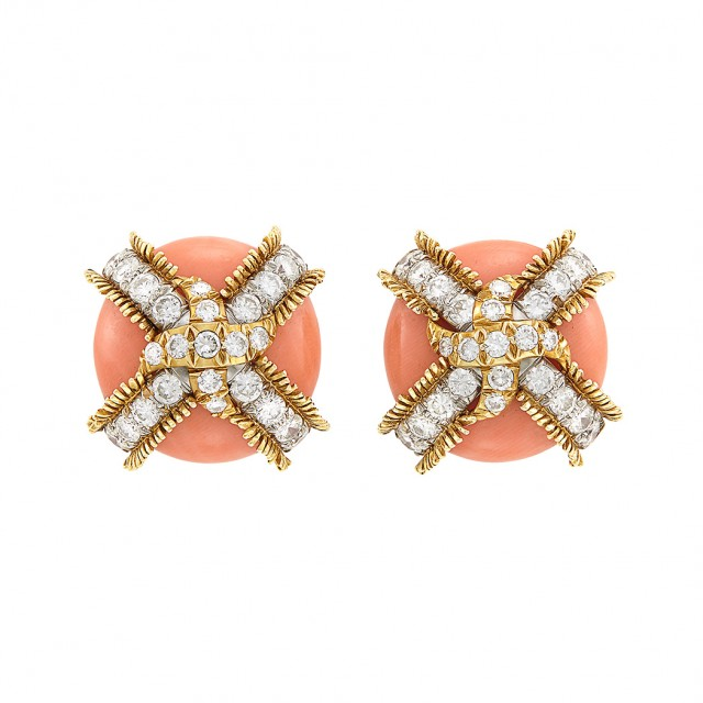 Pair of Gold, Platinum, Coral and Diamond Earclips, David Webb
