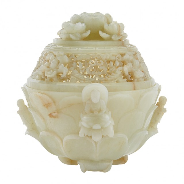 Chinese White Jade Covered Censer