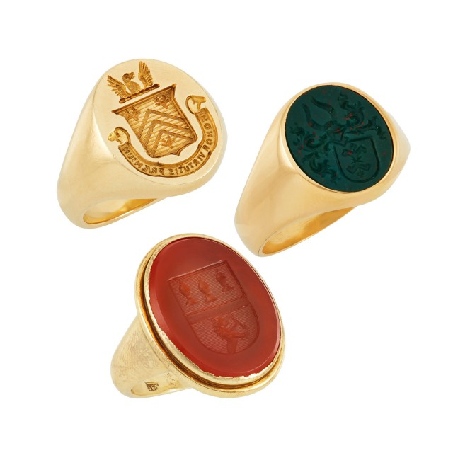 Three Gold and Hardstone Signet Rings