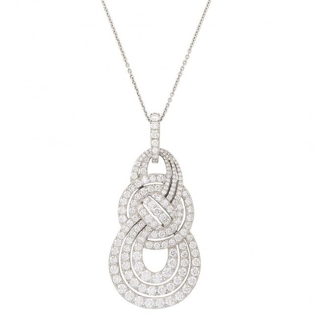 White Gold and Diamond \'Entanglement\' Pendant with Chain, Garrard