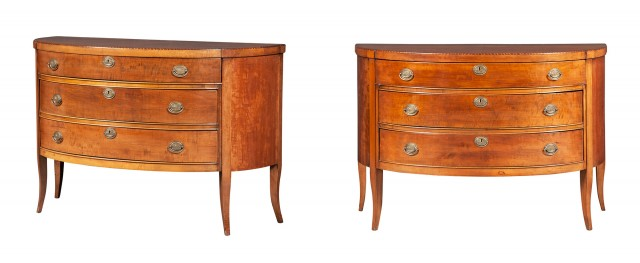 Pair of George III Style Inlaid Fruitwood Commodes