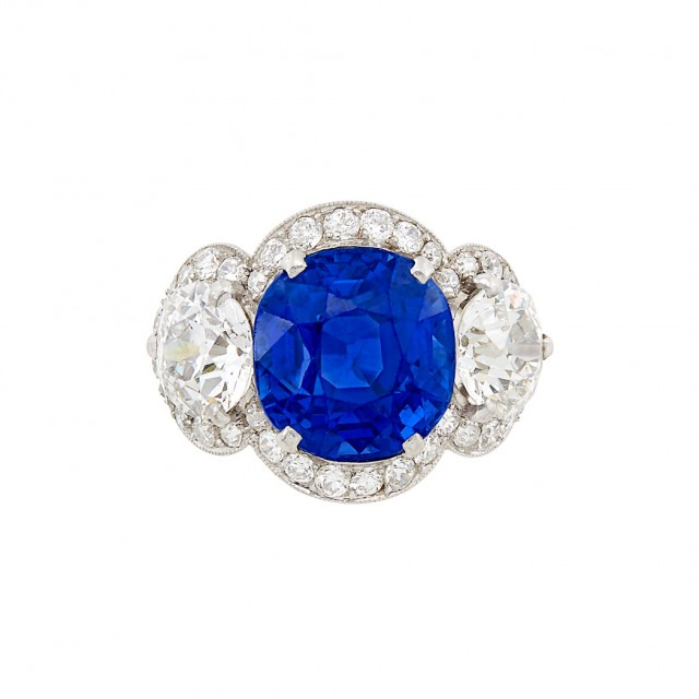 Platinum, Sapphire and Diamond Ring, Cartier