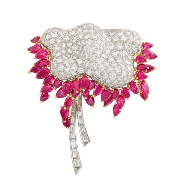 Platinum, Gold, Diamond and Ruby Flower Clip-Brooch