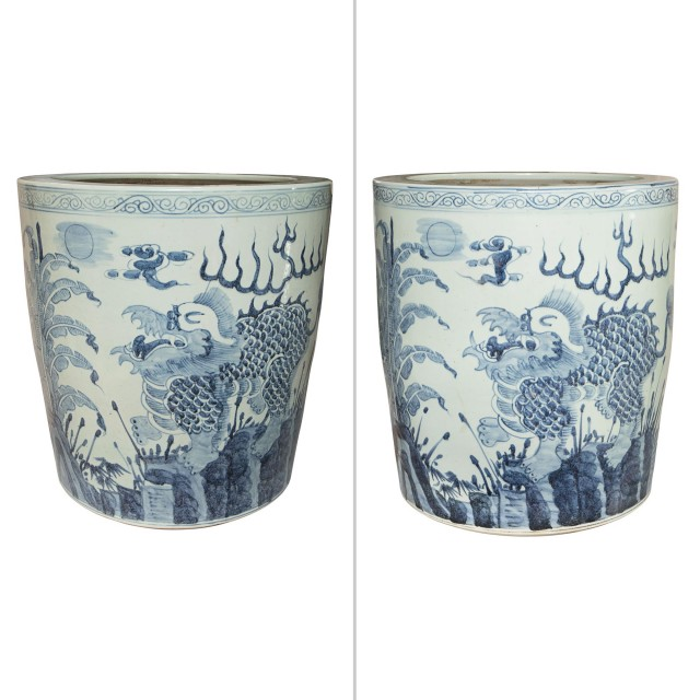 Pair of Chinese Blue and White Ceramic Oversize Planters