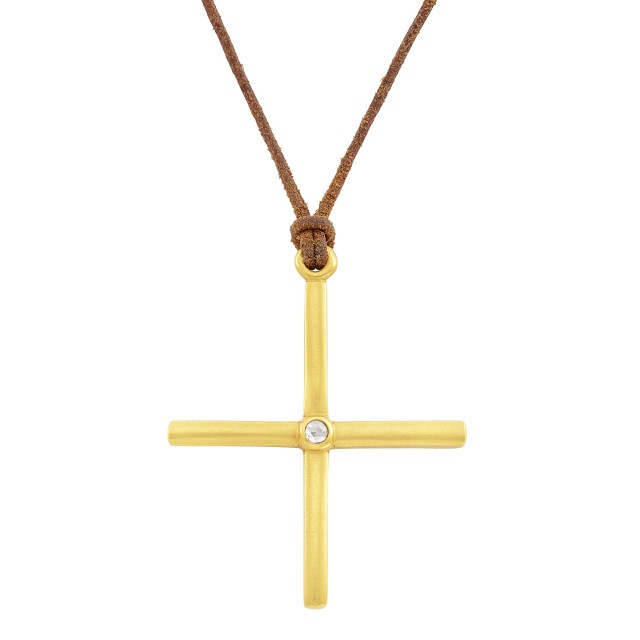 High Karat Gold and Diamond Cross Pendant with Cord Necklace, Linda Lee Johnson