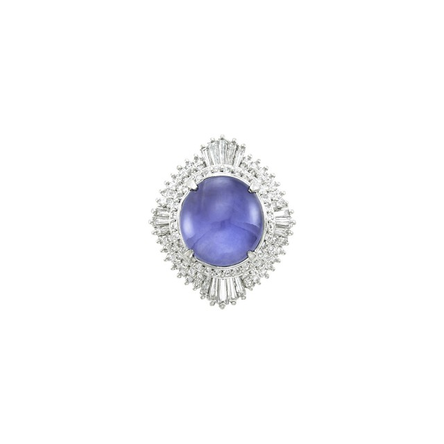 Platinum, Color-Change Star Sapphire and Diamond Ring