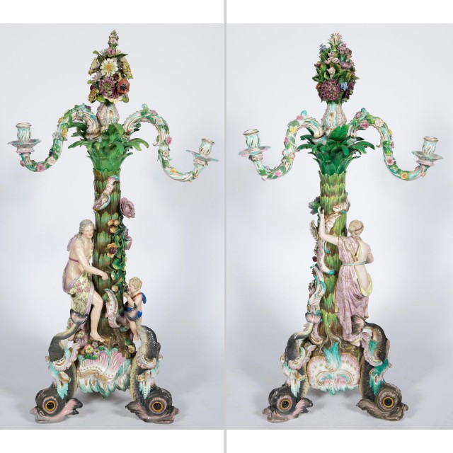 Pair of Monumental Meissen Gilt and Polychrome Decorated and Floral Encrusted Porcelain Figural Three-Light Candelabra
