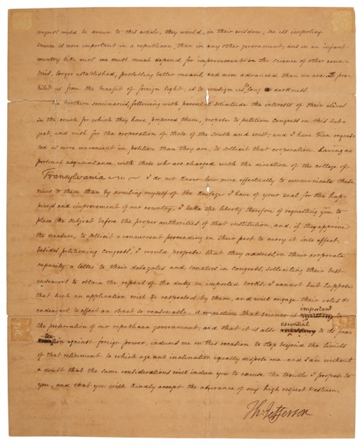 JEFFERSON, THOMAS  Letter signed to Dr. Samuel Brown regarding the effect of high importation tariffs on books on American education, with franking signature on original cover