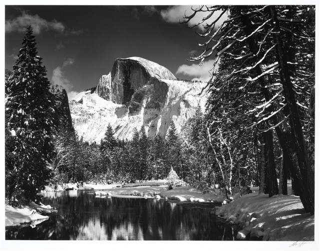 ADAMS, ANSEL (1902-1984)  Half Dome, Merced River, Winter, Yosemite Valley, California, 1932.