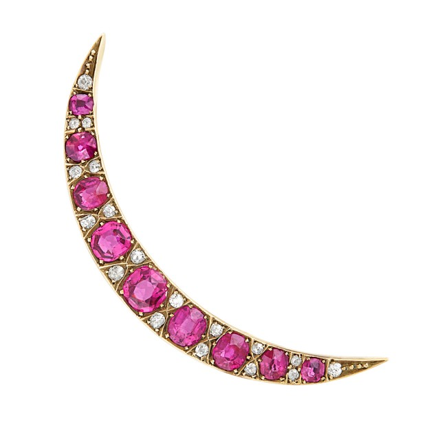 Antique Gold, Ruby and Diamond Crescent Pin