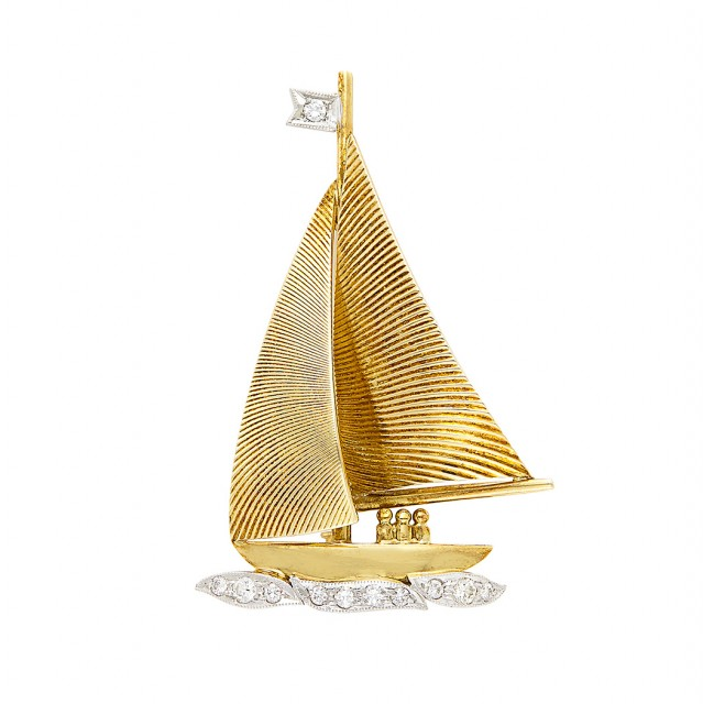 Gold, Platinum and Diamond Sailboat Brooch