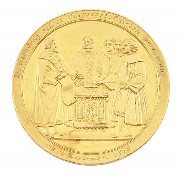 German States: Hamburg 1828 Free City Gold 10 Ducats By Brandt