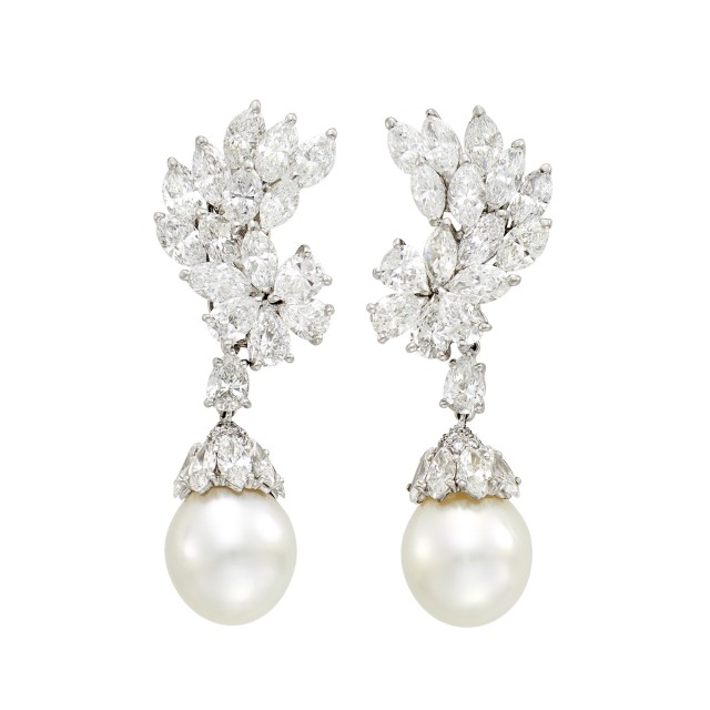 Cartier Pair of Platinum, Diamond and Cultured Pearl Pendant-Earclips
