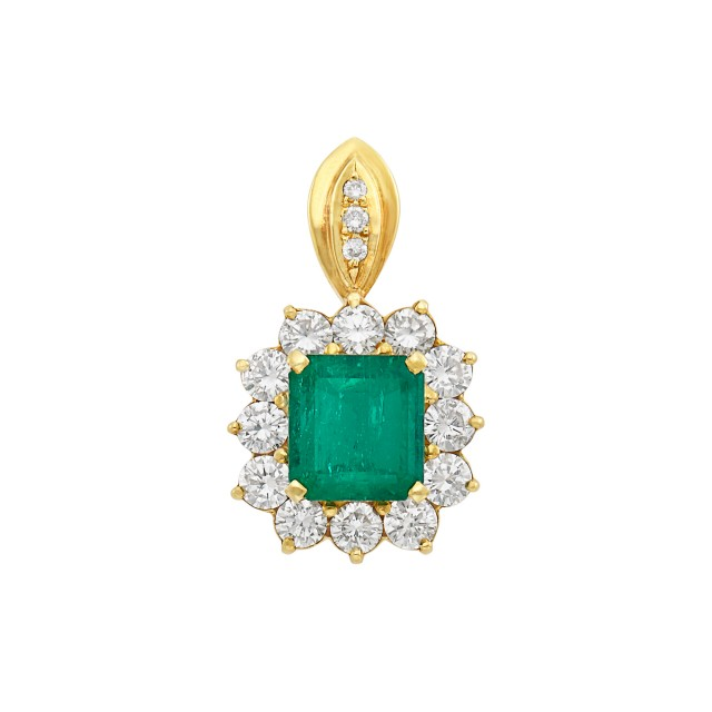 Gold, Emerald and Diamond Pendant