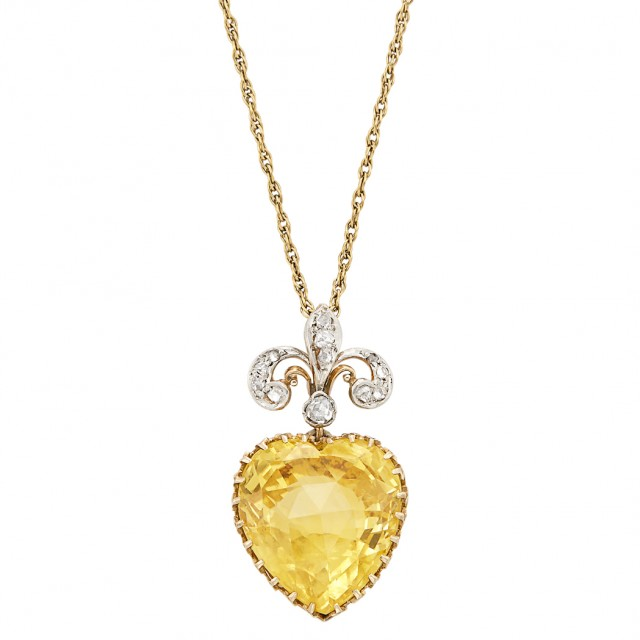 10b5ffda0 Edwardian Platinum-Topped Gold, Yellow Sapphire and Diamond Fleur-de-lys  Heart