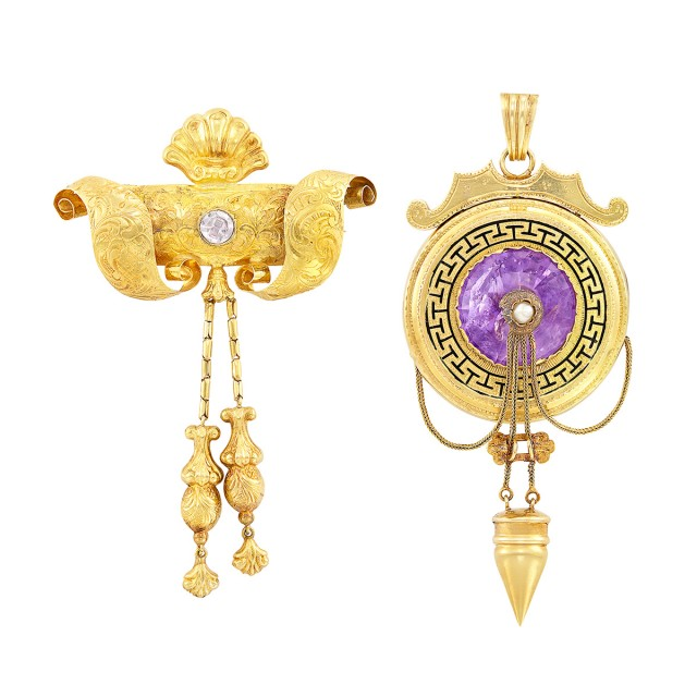 Two Antique Gold, Amethyst, Pearl and Paste Brooches